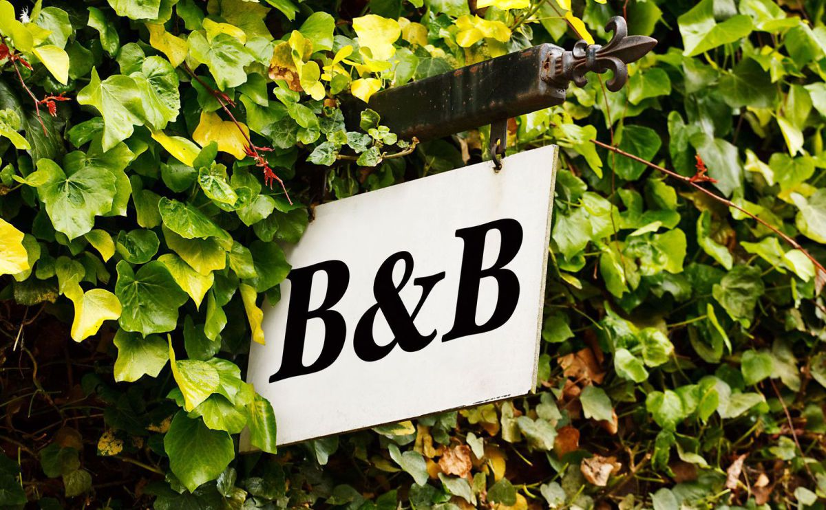 B & B sign in foliage