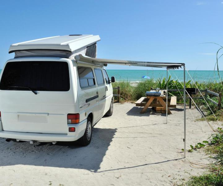 Campervan with an awning