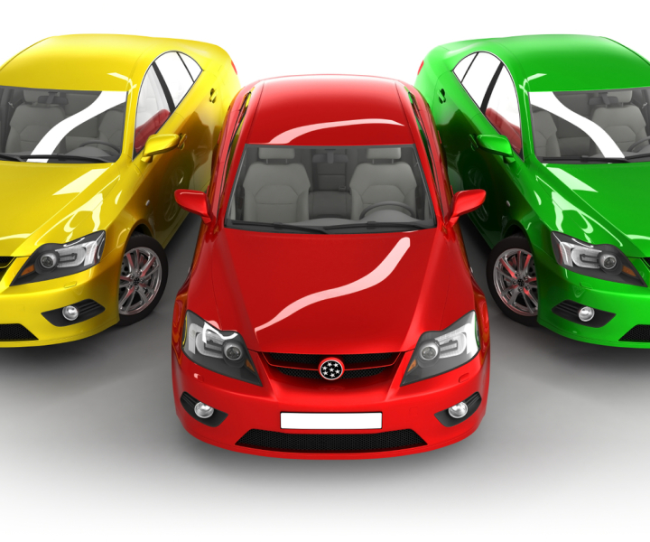 Yellow, red and green cars