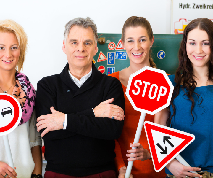 Group with road traffic signs
