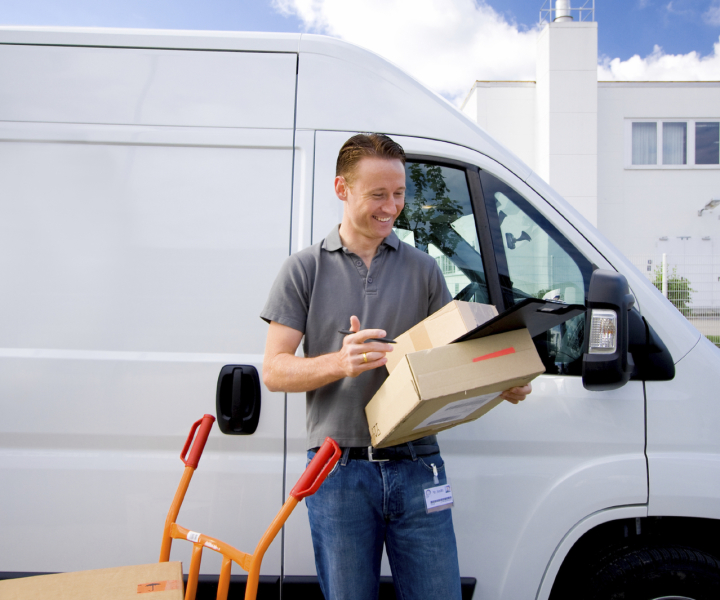 Deliveryman with white van